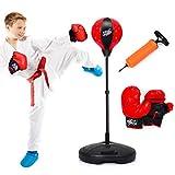 COSTWAY Punchingball 81-123,5cm höhenverstellbar, Kinder Boxset freistehend, Boxsack Set,...