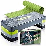 Body & Mind® Aerobic Steppbrett Elite 3-Stufen Stepper Step-Bench mit gratis...