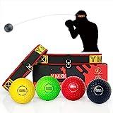 YMX BOXING Reflexball - 4 Bälle + 2 Stirnbänder, ideal für das Training von Reflex,...