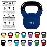 MSPORTS Kettlebell Neopren 2 – 30 kg inkl. Übungsposter (10 Kg - Dunkelblau)...